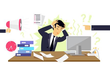 ansiedad: Estresante condición plana icono aislado. persona estrés de la salud, el desorden y el problema, la depresión hombre de negocios, ataque mental, psicológica ilustración, ocupado y el caos. concepto condición estresante
