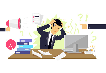 work stress: Stressful condition icon flat isolated. Stress health person, disorder and problem, businessman depression, mental attack psychological, busy and chaos illustration. Stressful condition concept Illustration