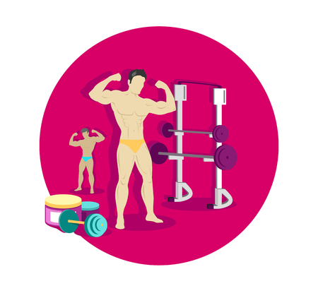 brawny: Bodybuilding sport concept icon flat design. Fitness and gym, weight and muscle, body bodybuilder, strong power strength athletic, training and dumbbell, athlete healthy. Bodybuilding concept