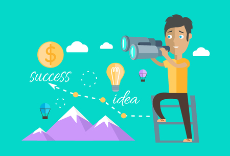 Man finding opportunities concept. Success business career, chance job or work, find and search, occupation and future, person look, vision professional. Leader opportunities. Find opportunity Stock Vector - 51593984