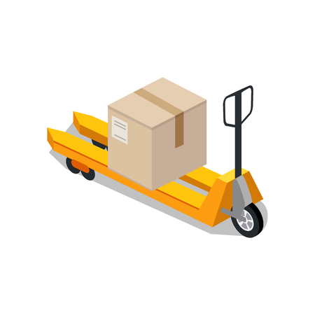 forklift truck: Isometric platform trolleys icon design style. Warehouse and forklift truck, truck and jack, cargo cart, delivery and lift, equipment industry, industrial loader. Isometric platform trolley