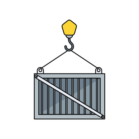 containership: Load container icon design style. Loading icon, loader and loading dock, freight shipping, cargo heavy, delivering and loading, warehouse and logistic, export moving illustration