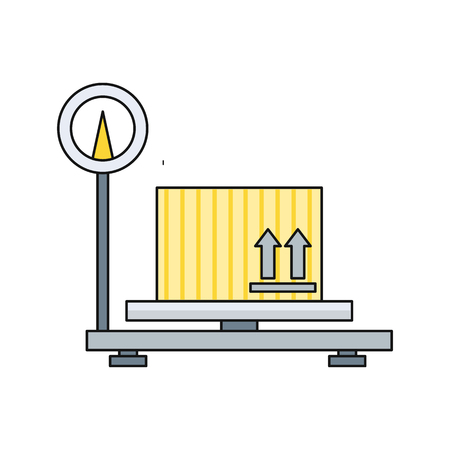 box weight: Scales flat design. Weight of goods. Box and cargo, package and freight, parcel and product, load packaging,  order and import, logistic and distribution illustration. Isolated scales icon.