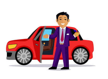 sell car: Illustration of a man buys a new car. Automobile sale, sell  transport, dealer and customer,  salesman and vehicle, purchase and seller, buyer and agent illustration. Buy car concept. Man buy car