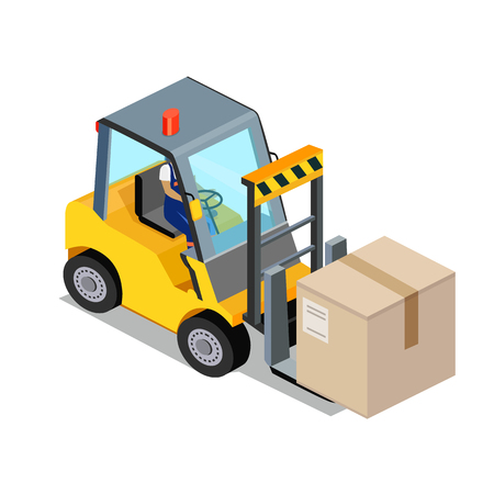 transportation facilities: Isometric stackers icon design style flat. Box freight, truck distribution, transportation storehouse, cardboard and crate, package product, forklift and cargo. Stackers icon isolated. 3D Cargo lift