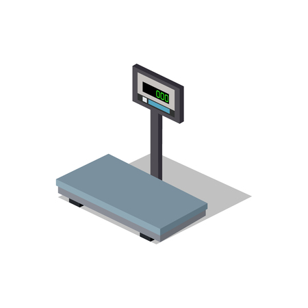 weight scales: Isometric scales flat design. Weight of goods. Box and cargo, package and freight, parcel and product, load packaging,  order and import, logistic and distribution. Isolated scales icon. 3D scales Illustration