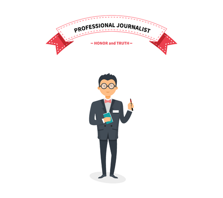 news reporter: Journalists team people group flat style. Report and press, writer and interview, media news, news reporter, professional and camera, character reporter, journalism illustration. Interview concept