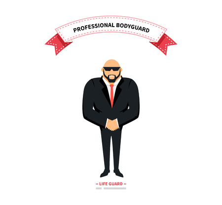 life guard: Bodyguards team people group flat style. Security and security guards, security man, secret service, protection and professional teamwork illustration. Professional bodyguard. Life guard