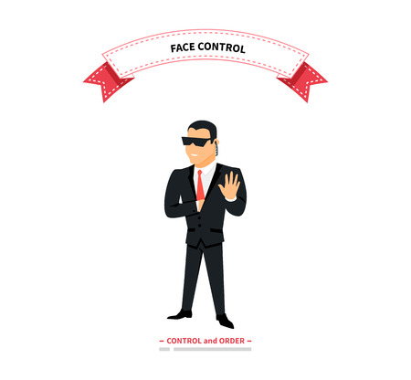 muscular control: Face control. Security man of nightclub. Brutal security guard. Security guard of nightclub, bouncer. Powerful muscular bodybuilder. Security guard face control on white background vector illustration Illustration