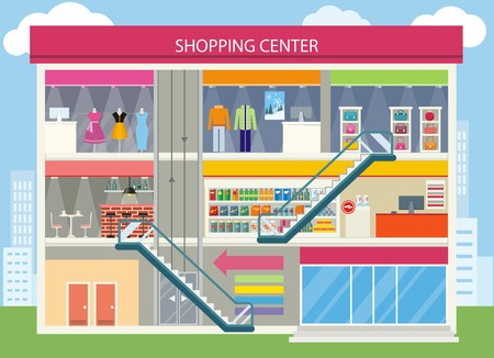 Shopping center buiding design. Shopping mall, shopping center interior, restaurant and boutique, store and shop, architecture retail, urban structure commercial illustration Illustration