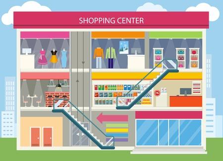 Winkelcentrum buiding design. Winkelcentrum, winkelcentrum interieur, een restaurant en boutique, opslag en winkel, architectuur retail, stedelijke structuur commerciële illustratie