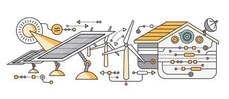 Concepto de dispositivos del hogar y de control inteligente. dispositivo de tecnología, sistema móvil de vigilancia de automatización de la eficiencia eléctrica de alimentación de energía, temperatura del equipo, termostato remoto. ilustración Smart House