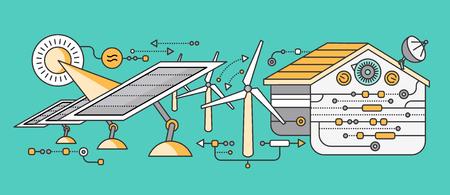 energías renovables: Concepto de dispositivos del hogar y de control inteligente. dispositivo de tecnología, sistema móvil de vigilancia de automatización de la eficiencia eléctrica de alimentación de energía, temperatura del equipo, termostato remoto. ilustración Smart House Vectores