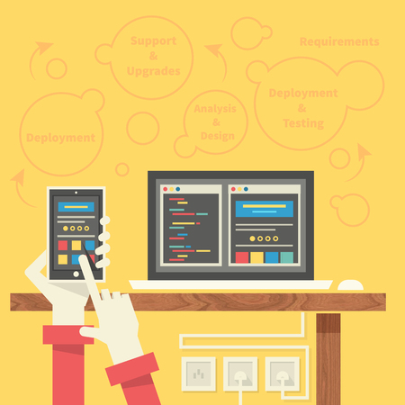 smartphone apps: Concept for app development programming with smartphone, tools, programing code. Apps, development, mobile apps programming, software development, mobile app development, app design programming Illustration