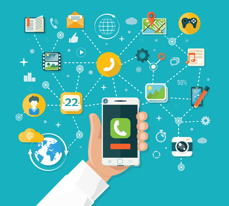 wireless telephone: Smartphone functions design flat. Smart phone, tablet and mobile phone, smartphone hand, technology smart, internet and app, device telephone, network wireless illustration Illustration