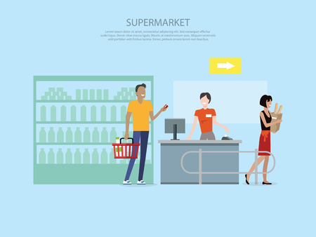 food store: People in supermarket interior design. People shopping, supermarket shopping, marketing people, market shop interior, customer in mall, retail store illustration