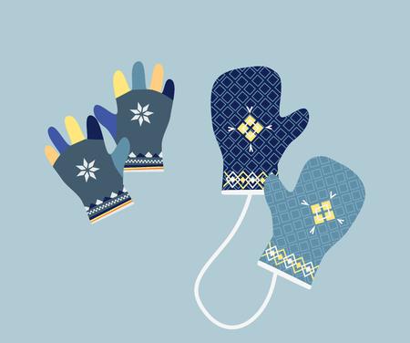 guantes: icono de la manopla. icono de los guantes. Par de manoplas de punto de Navidad. guantes de invierno en colores suaves de la vendimia. De punto manoplas calientes. Par de guantes. Mitones guantes para el frío meteorización. Ilustración del vector.