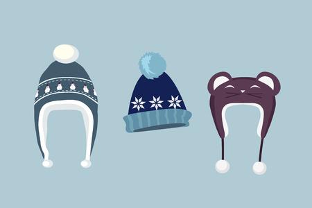 ropa casual: icono de sombrero de invierno. casquillo del invierno de punto. Conjunto aislado de sombrero de invierno. sombrero de invierno y la tapa. sombrero aislados invierno. icono del casquillo del sombrero del invierno plana. Gorro de invierno. casquillo del invierno. Sombrero de lana. ilustración vectorial