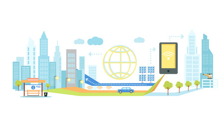 infrastructure: Smart technology in infrastructure of the city. Icon and network system, communication innovation town, connection and future, control information, internet illustration. Smart technology concept