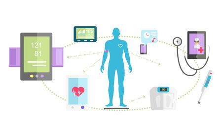 systems: Mhealth technologies system icon flat isolated. Healthcare test, science mobile control, healthy and research medication, medical, scan app, health and patient, aid human illustration Illustration