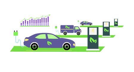 Icône développement plat et la popularité des véhicules électriques en croissance. La technologie d'alimentation, l'énergie et le transport de l'électricité, l'avenir de carburant, alternative illustration électrique