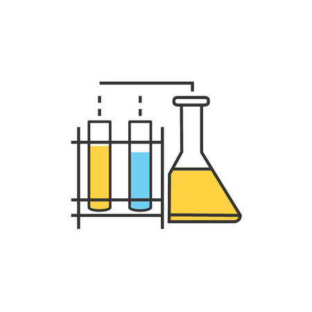 drug discovery: Laboratory equipment. Chemistry education research laboratory equipment. Laboratory equipment objects. Laboratory glass. Laboratory glassware icon. Science lab equipment tool. Vector illustration