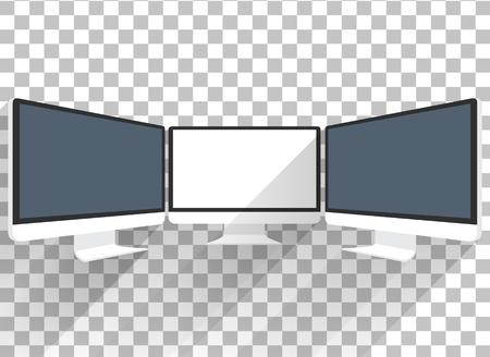 컴퓨터 모니터입니다. 컴퓨터 모니터에 표시됩니다. 컴퓨터 디스플레이입니다. 블랙 화면. LCD TV 모니터 절연입니다. 모니터의 아이콘입니다. 컴퓨터  일러스트