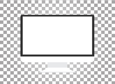 Computer monitor isolated. Computer monitor display. Computer display isolated. Black screen. lcd tv monitor isolated. Icon of monitor. Computer monitor icon. Flat monitor. Vector computer monitor