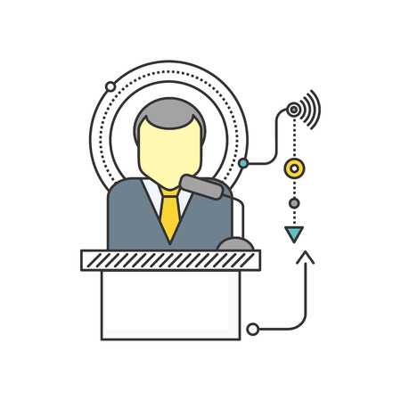 orator: Orator standing behind a podium with microphones. Speaker makes a report to the public. Orator icon. Presentation and performance before an audience. Oratory, lecturer, business seminar orator