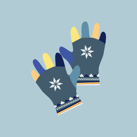 gloves: Mitten icon. Gloves icon. Pair of knitted christmas mittens. Winter mittens in soft vintage colors. Knitted warm mittens.  Pair of gloves. Mittens gloves for cold weathe. Vector illustration.
