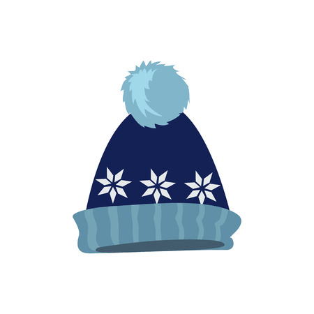 Winter hat icon. Knitted winter cap. Set winter hat isolated. Winter hat and cap. Isolated winter hat. Flat icon winter hat cap. Winter hat. Winter cap. Wool hat. Vector illustration Illustration