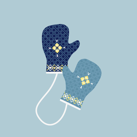 winter colors: Mitten icon. Gloves icon. Pair of knitted christmas mittens. Winter mittens in soft vintage colors. Knitted warm mittens.  Pair of gloves. Mittens gloves for cold weathe. Vector illustration.