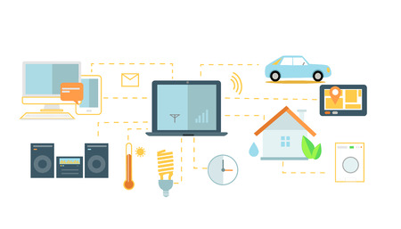 home equipment: Internet of things icon flat design. Network and iot technology, web and smart home, mobile digital, wireless connect, communication equipment illustration. Internet of things. Smart house