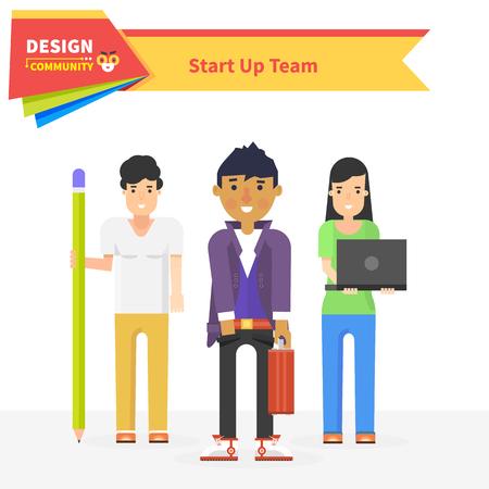 business meeting computer: Start up team design community. Startup business, entrepreneur and start team, star up small business, start up work with teamwork, professional star up, team design, occupation illustration