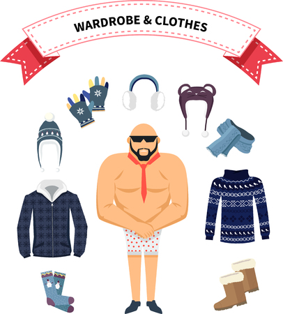 warm clothing: Wardrobe and clothes. Clothing around men in shorts. Warm winter clothes design. Scarf and winter fashion, winter hat, winter coat, cloth and hat, jacket and glove, coat and boot, outerwear seasonal