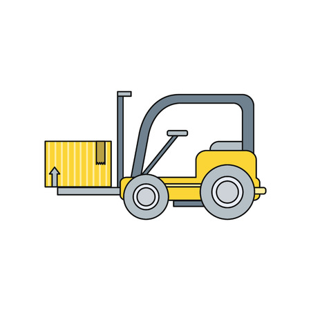 storehouse: Stackers icon design style flat. Box freight, truck distribution, transportation storehouse, cardboard and crate, package product, forklift and cargo illustration. Stackers icon isolated. Cargo lift Illustration