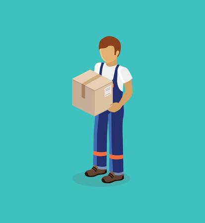 cartero: Hombre de salida isométrica del diseño de la caja aislada. 3D hombre de entrega, icono de la entrega, la entrega gratuita, la prestación de servicios de mensajería, entrega de negocios, caja de paquete, cartero entrega urgente, entrega de paquetes
