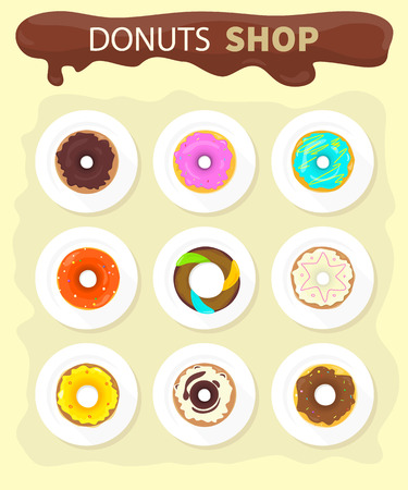 donut shop: Sweet donuts set design flat food. Doughnut, donuts coffee, donut isolated, coffee and cookies, cake bakery, dessert menu, snack pastry, tasty illustration. Donuts shop. Donut icon. Donuts glaze Illustration