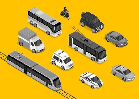 Transport 3d izometryczny zestaw płaska. Pojazd samochodowy, ruch transport, ciężarówka van, auto ciężarowe, autobusy i samochód, policja i ilustracji motocykla