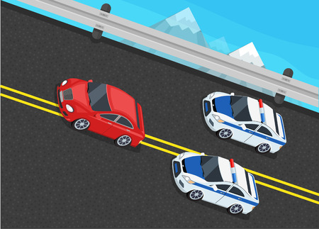 Isometric police fines car design flat isolated. 3D fine car, police officer traffic, policeman person fines, 3d transportation driver fines,  fines transport, sheriff fines guy security and violation