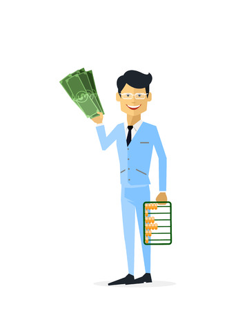 gold bar: Businessman with money gold isolated. Man with gold, money and gold bar, cash for gold, old gold money, treasure gold dollar, bar gold, businessman wealth and rich man with money illustration Illustration