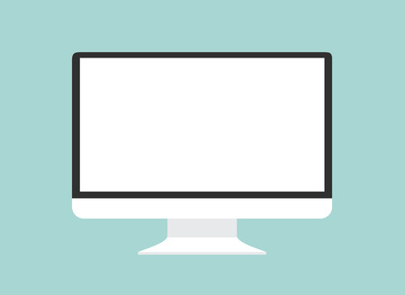 Computer monitor isolated. Computer monitor display. Computer display isolated. Black screen. lcd tv monitor isolated. Icon of monitor. Computer monitor icon. Flat monitor. Vector computer monitor Stok Fotoğraf - 51810367