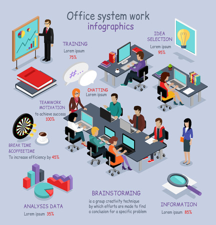 office: Isometric office system work infographic. 3D office interior, office desk, business and office people, office room, analysis data, brainstorming teamwork and training, 3D selection idea, break time