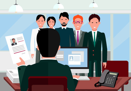 interview: Hiring recruiting interview. Look resume applicant employer. Hands Hold CV profile choose from group of business people. HR, recruiting, we are hiring. Candidate job position. Hire and interviewer Illustration