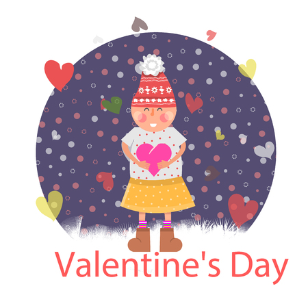 woman in love: Valentines day. Girl with heart. Valentine day love, valentines day background, heart and valentine background, girl romantic with heart, young woman love, joy lady, holiday love illustration Illustration