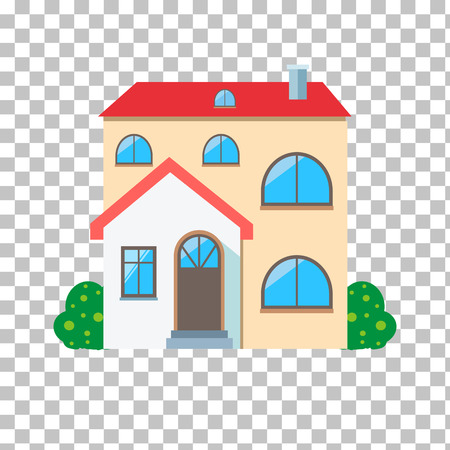 house building: Real estate concept. Small house. House icon. Isolated house. Home house in flat design style. Colorful residential houses. Home, building, house exterior, real estate,  family house, modern house Illustration
