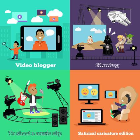 pelicula de cine: industria del video blogger diseño de filmación plana. blogger de vídeo, edición de caricatura, Videoclip, filmación y blog, medios de comunicación social, blogger de moda, el cine la película filmación, cámara de vídeo, película film ilustración