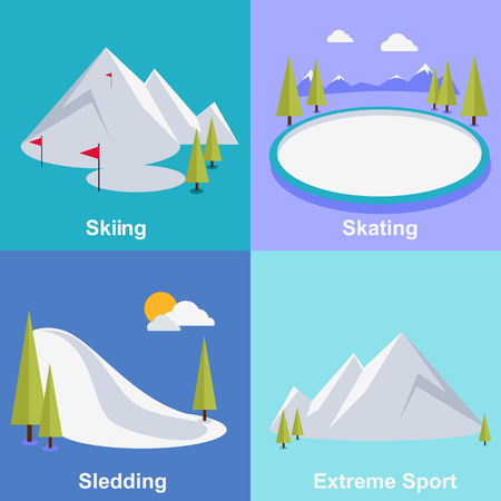 mountain snow: Active winter vacation extreme sports. Sledding and sking, skating and mountain, snow and recreation, travel outdoor, cold and holiday, snowboarder athlete. Extreme sport, sledding, sking, skating