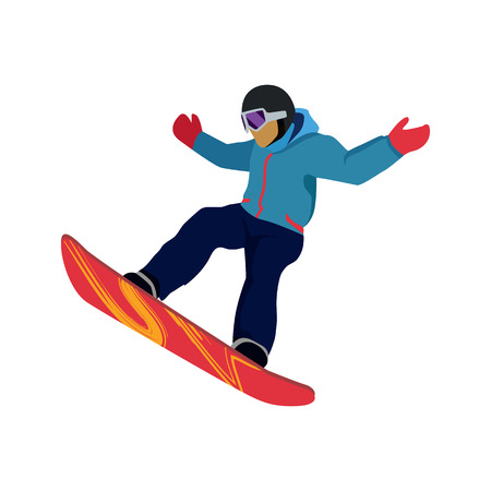 Extreme sport snowboard design. Snow and snowboard jump, snowboard isolated, surfing and winter, cold and mountain, speed board, season snowboarding, snowboarder illustration Çizim
