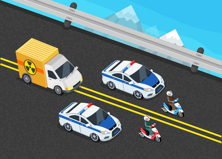 delivery car: Isometric police motorcade car important toxic load. 3D Police guard, delivery escort, 3d policeman motorcycle, cortege car, toxic safety chemical, truck delivery danger, police storage hazardous